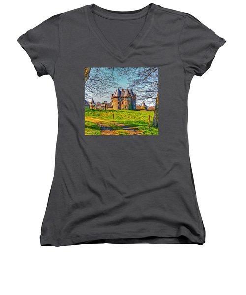 Women's V-Neck T-Shirt (Junior Cut) featuring the photograph Chateau De Landale by Elf Evans