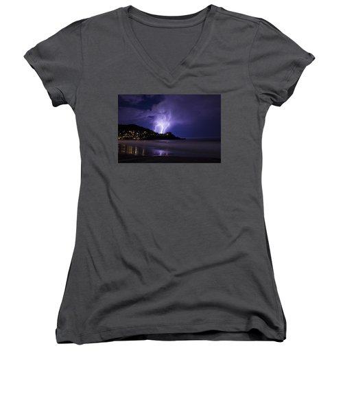 Lightning Over The Ocean Women's V-Neck