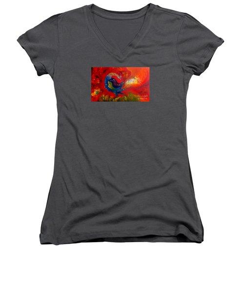 Love Women's V-Neck T-Shirt (Junior Cut) by Sanjay Punekar