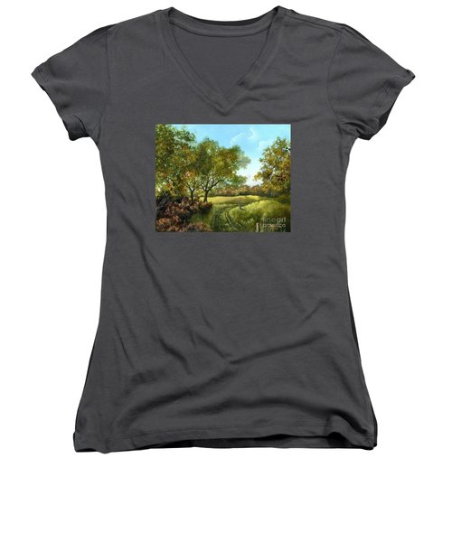 Luray Pasture Women's V-Neck T-Shirt (Junior Cut)