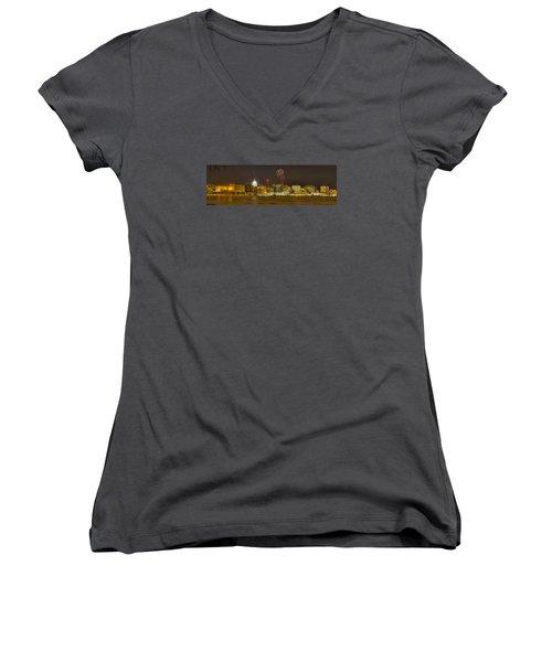 Madison New Years Eve Women's V-Neck T-Shirt (Junior Cut) by Steven Ralser
