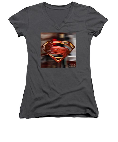 Women's V-Neck T-Shirt (Junior Cut) featuring the mixed media Man Of Steel Superman by Marvin Blaine