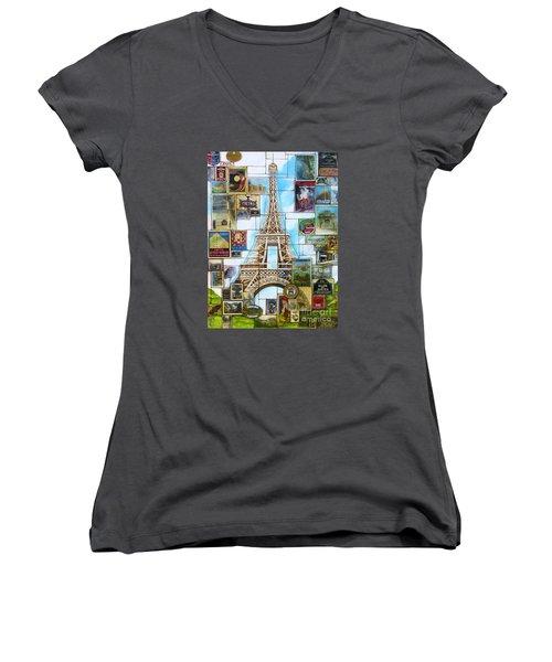 Memories Of Paris Women's V-Neck T-Shirt (Junior Cut) by Joseph Sonday