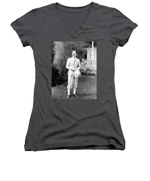 Women's V-Neck T-Shirt (Junior Cut) featuring the photograph Men's Fashion, C1925 by Granger