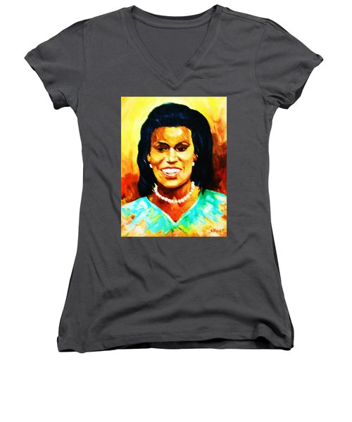 Women's V-Neck T-Shirt (Junior Cut) featuring the painting Michelle Obama by Al Brown