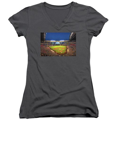 Milwaukee Brewers Miller Park Painted Digitally Women's V-Neck T-Shirt