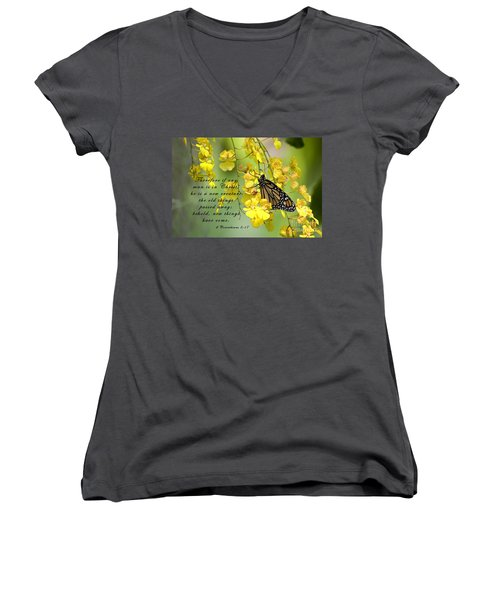 Monarch Butterfly With Scripture Women's V-Neck