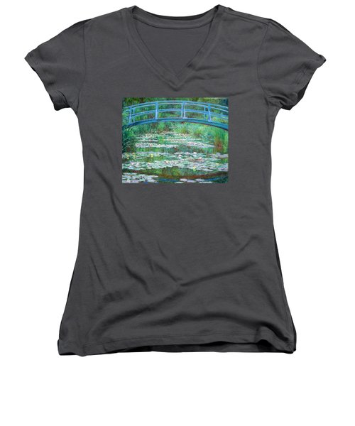 Women's V-Neck T-Shirt (Junior Cut) featuring the photograph Monet's The Japanese Footbridge by Cora Wandel
