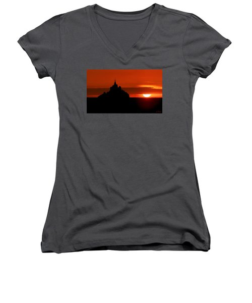 Mont St Michel Sunset Women's V-Neck T-Shirt (Junior Cut) by Joe Bonita