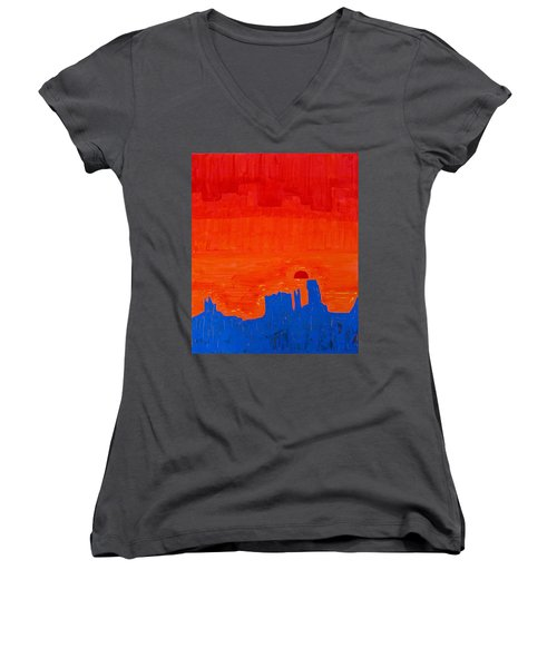 Monument Valley Original Painting Women's V-Neck T-Shirt