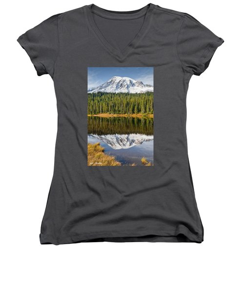 Mount Rainier And Reflection Lakes In The Fall Women's V-Neck