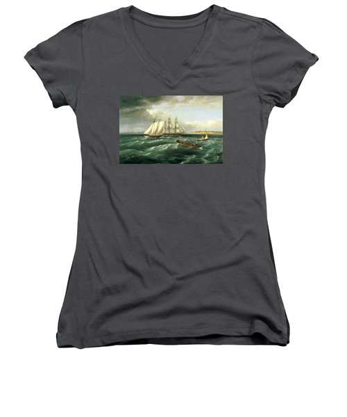 Mouth Of The Delaware Women's V-Neck (Athletic Fit)