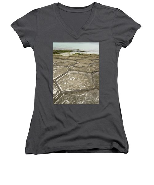 Natural Forming Pentagon Rock Formations Of Kumejima Okinawa Japan Women's V-Neck T-Shirt (Junior Cut) by Jeff at JSJ Photography