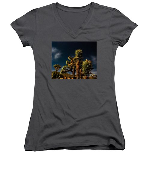 Night Desert Women's V-Neck T-Shirt (Junior Cut) by Angela J Wright
