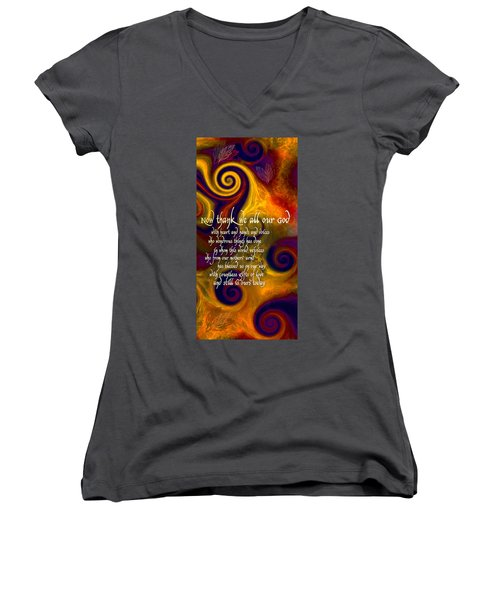 Now Thank We All Our God Women's V-Neck T-Shirt (Junior Cut) by Chuck Mountain