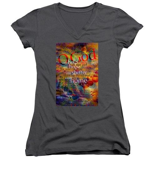 O God Our Help Women's V-Neck T-Shirt (Junior Cut) by Chuck Mountain
