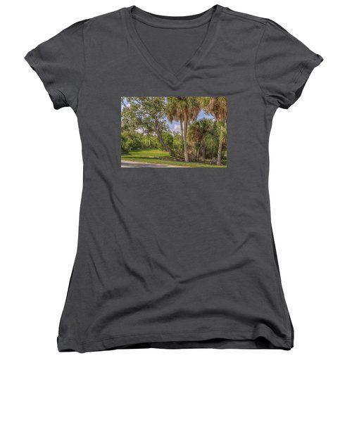 Women's V-Neck T-Shirt (Junior Cut) featuring the photograph Oak Trees by Jane Luxton