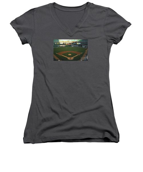 Old Busch Field Women's V-Neck T-Shirt (Junior Cut) by Kelly Awad