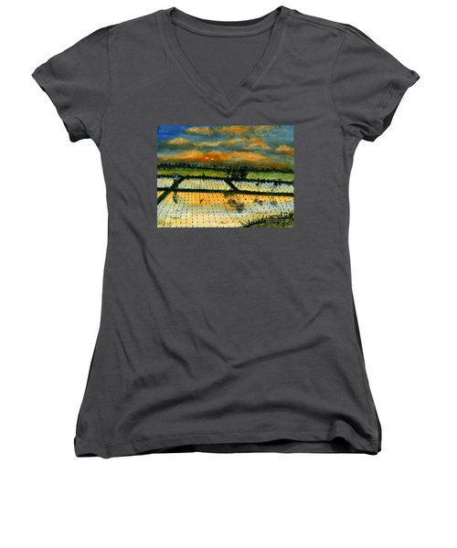 Women's V-Neck T-Shirt (Junior Cut) featuring the painting On The Way To Ubud Iv Bali Indonesia by Melly Terpening