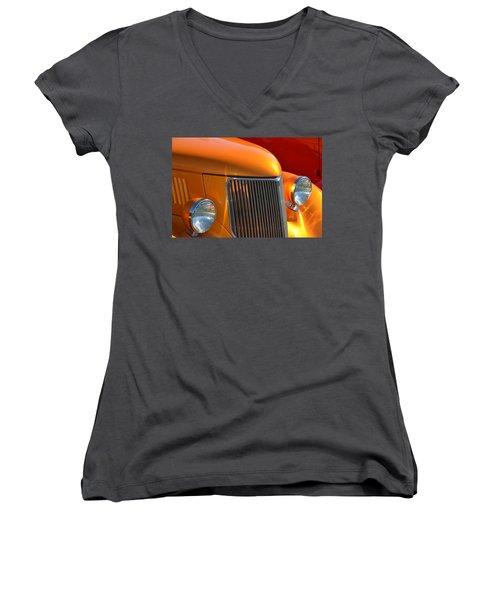 Orange Hotrod Women's V-Neck (Athletic Fit)