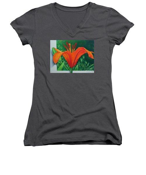 Orange Lily Women's V-Neck T-Shirt (Junior Cut) by Pamela Clements