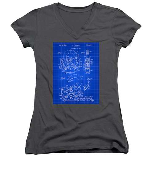 Padlock Patent 1935 - Blue Women's V-Neck T-Shirt (Junior Cut) by Stephen Younts