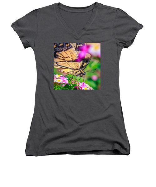 Women's V-Neck T-Shirt (Junior Cut) featuring the photograph Papilio Glaucus by Rob Sellers