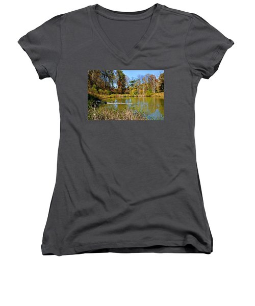 Peaceful Place Women's V-Neck T-Shirt (Junior Cut) by Kristin Elmquist