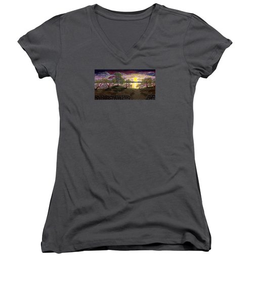 Women's V-Neck T-Shirt (Junior Cut) featuring the painting Peaceful Sunset by Rebecca Parker