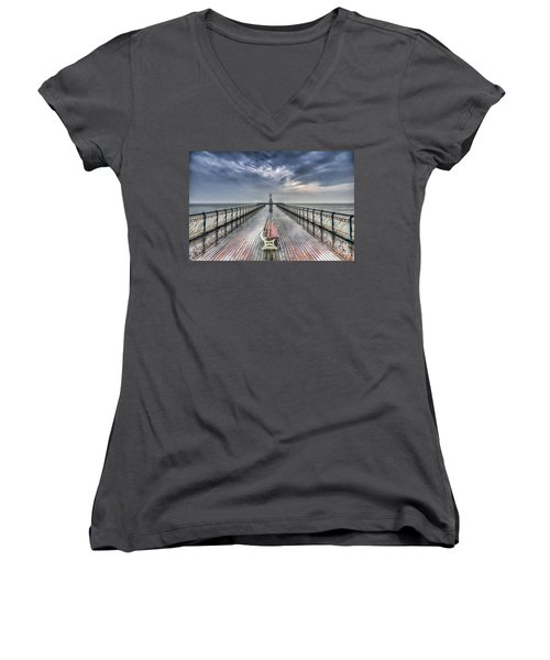 Penarth Pier 4 Women's V-Neck T-Shirt (Junior Cut) by Steve Purnell