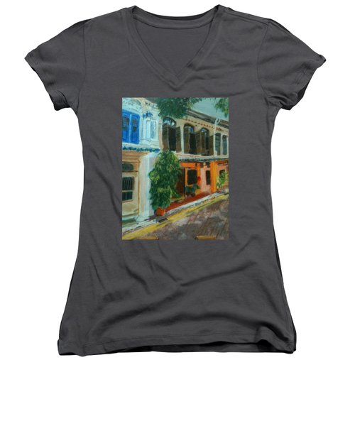 Women's V-Neck T-Shirt (Junior Cut) featuring the painting Peranakan House by Belinda Low
