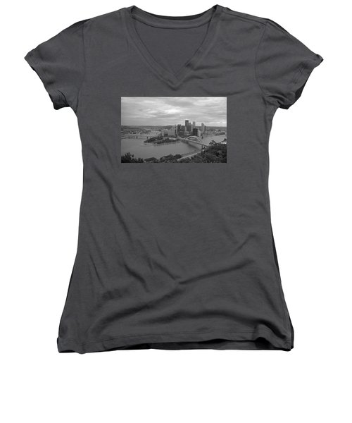Pittsburgh - View Of The Three Rivers Women's V-Neck T-Shirt