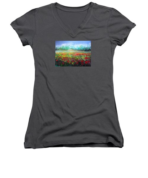 Poppy Fields Women's V-Neck T-Shirt (Junior Cut) by Vesna Martinjak