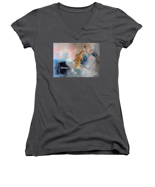 Practice Women's V-Neck T-Shirt (Junior Cut) by Laurie L