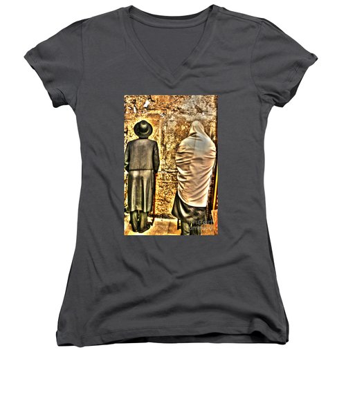 Women's V-Neck T-Shirt (Junior Cut) featuring the photograph Praying At The Western Wall by Doc Braham