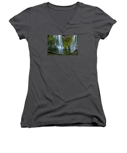 Proxy Falls Women's V-Neck T-Shirt (Junior Cut) by Nick  Boren