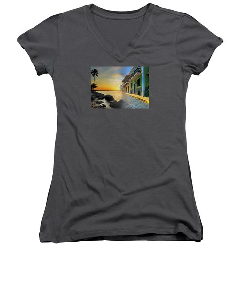 Women's V-Neck T-Shirt (Junior Cut) featuring the photograph Puerto Rico Collage 4 by Stephen Anderson