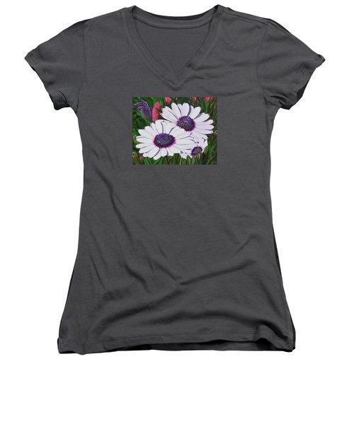 Purple Punch Women's V-Neck T-Shirt (Junior Cut) by Donna  Manaraze