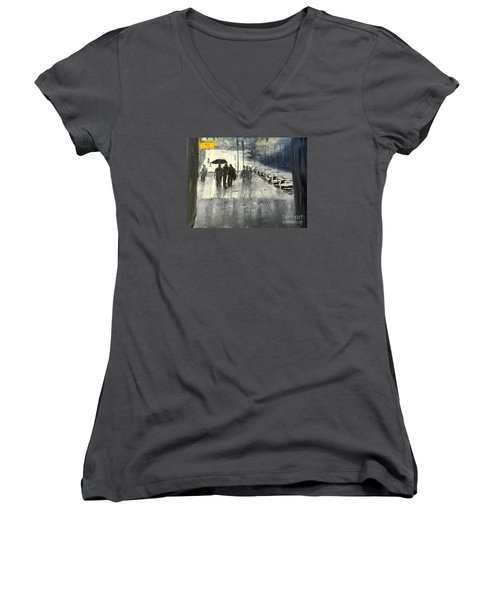 Rainy City Street Women's V-Neck T-Shirt