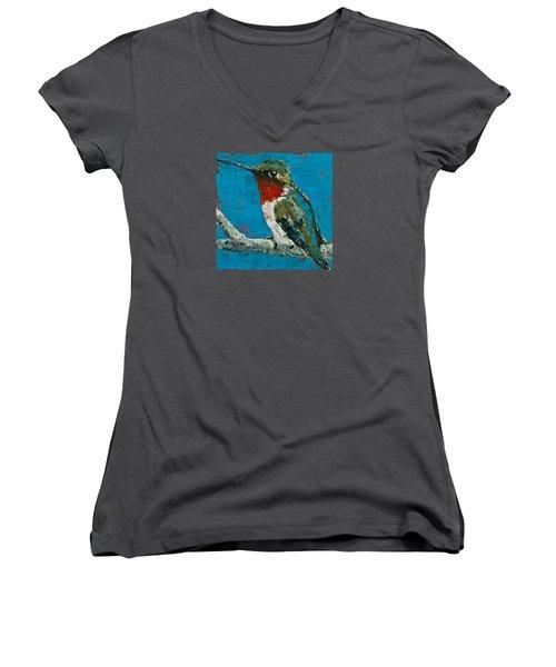 Ruby-throated Hummingbird Women's V-Neck T-Shirt (Junior Cut) by Jani Freimann
