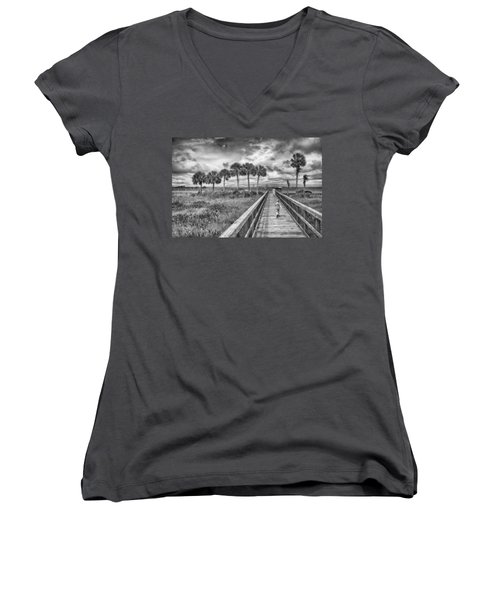 Women's V-Neck featuring the photograph Running by Howard Salmon