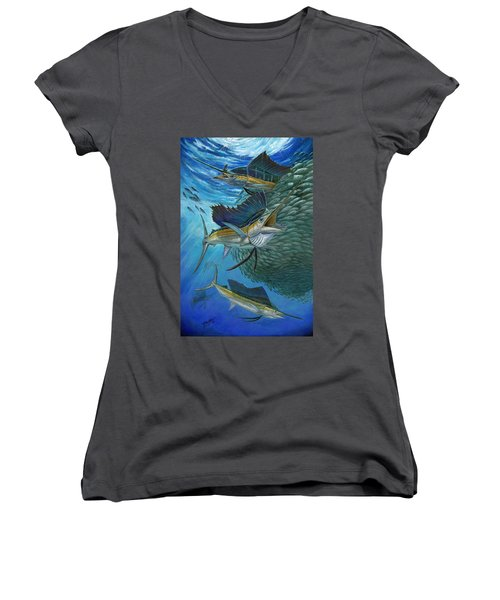 Sailfish With A Ball Of Bait Women's V-Neck (Athletic Fit)