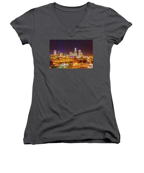 Women's V-Neck T-Shirt (Junior Cut) featuring the photograph Skyline Of Uptown Charlotte North Carolina At Night by Alex Grichenko
