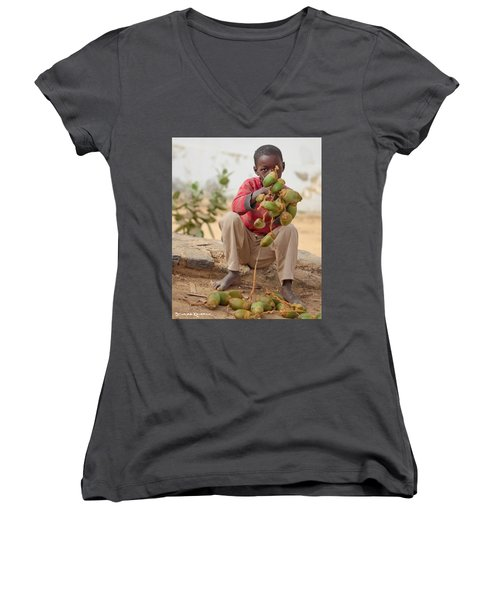 Women's V-Neck featuring the photograph Somewhere Else On Goree Island  by Stwayne Keubrick