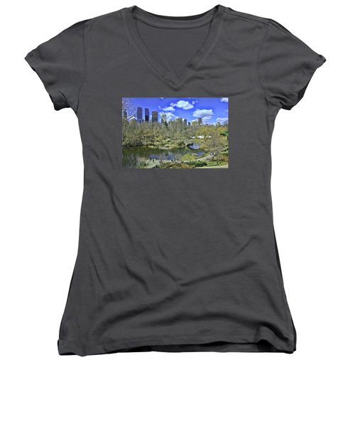 Springtime In Central Park Women's V-Neck T-Shirt (Junior Cut) by Allen Beatty