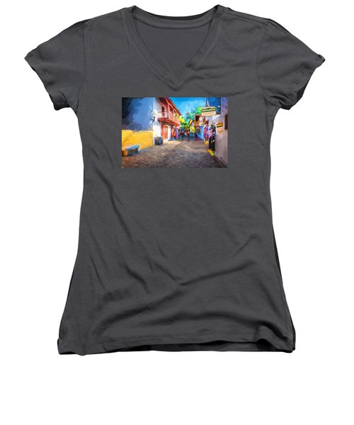 St George Street St Augustine Florida Painted Women's V-Neck