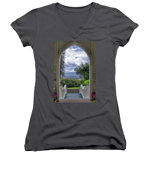 St. John's 28 Women's V-Neck T-Shirt (Junior Cut) by Dawn Eshelman
