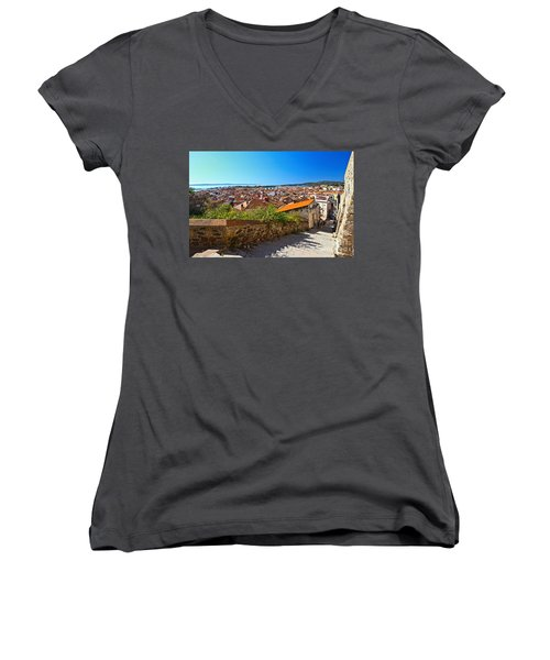 stairway and ancient walls in Carloforte Women's V-Neck T-Shirt