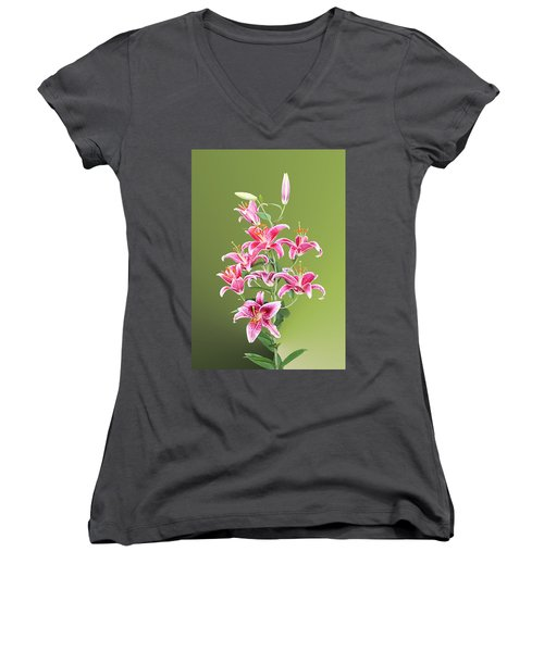 Stargazer Lilies Women's V-Neck T-Shirt (Junior Cut) by Kristin Elmquist