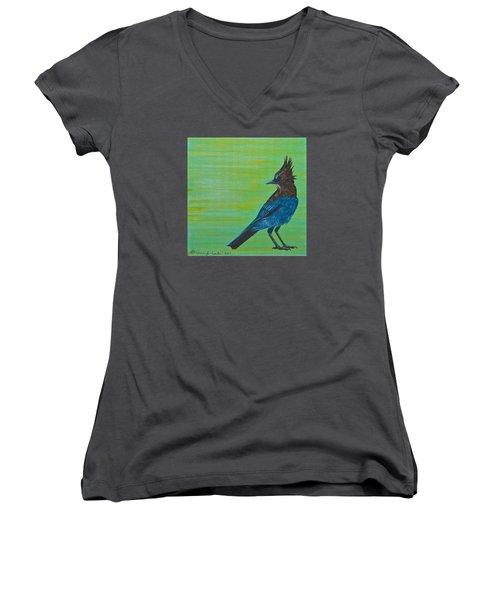 Women's V-Neck T-Shirt (Junior Cut) featuring the painting Stellar Jay by Jennifer Lake
